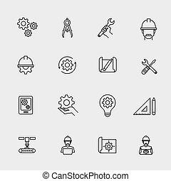 μηχανική , απλό , icons., μηχανή , αξιωματικός μηχανικού , και , αρχιτέκτονας , μηχανικόs , δουλειά , εργαλεία , μικροβιοφορέας , αναχωρώ