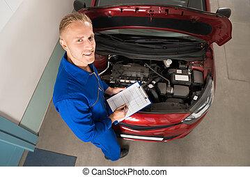 μηχανικός , ακάθιστος , κοντά , αυτοκίνητο , γράψιμο , επάνω , clipboard