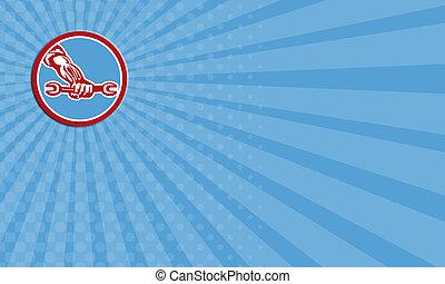μηχανικός , επιχείρηση , χέρι , retro , κράτημα , αγγλικό κλειδί , κύκλοs , κάρτα