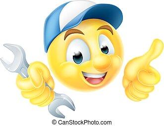 μηχανικός , υδραυλικός , αγγλικό κλειδί , emoticon , emoji