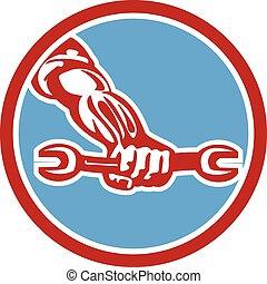 μηχανικός , χέρι , retro , κράτημα , αγγλικό κλειδί , κύκλοs