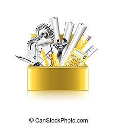 μηχανικόs , εργαλεία , κουτί , απομονωμένος , αναμμένος...