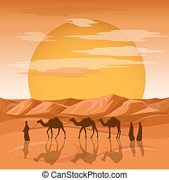 μικροβιοφορέας , άνθρωποι , καραβάνι , άραβας , φόντο. , απεικονίζω σε σιλουέτα , καμήλες , άμμος , εγκαταλείπω