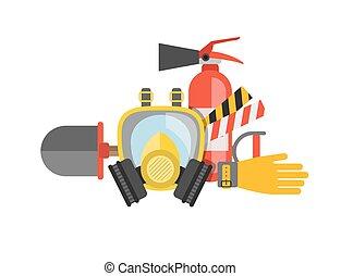 μικροβιοφορέας , ή , θέτω , extinguisher., σώζω , φωτιά , μάσκα , set., δουλειά , πυροσβέστης , fire., εξοπλισμός , άδεια ελεύθερης κυκλοφορίας ασφάλεια , rescuer., αέριο , tools.
