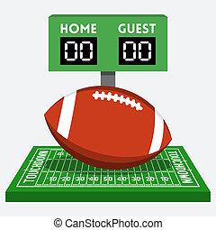 μικροβιοφορέας , αμερικάνικο ποδόσφαιρο , πεδίο , και , μπάλα , έκθεση