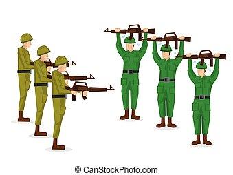 μικροβιοφορέας , απομονωμένος , εικόνα , ομοειδής , φόντο. , battle., πράσινο , στρατιώτες , στρατιωτικός , άσπρο , παραδίδομαι
