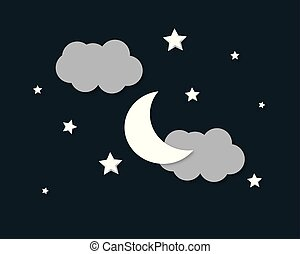 μικροβιοφορέας , βράδυ , φόντο , clouds., αστέρας του κινηματογράφου , φεγγάρι , sky.