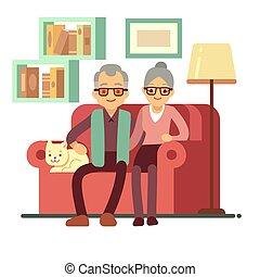 μικροβιοφορέας , γενική ιδέα , γριά , οικογένεια , γυναίκα , καναπέs , - , συνταξιοδότηση , home., σύζυγοs , ευτυχισμένος