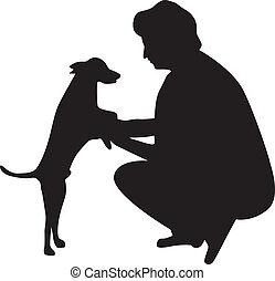 μικροβιοφορέας , γυναίκα , περίγραμμα , σκύλοs