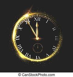 μικροβιοφορέας , δίσκοs τηλεφώνου , midnight., πρακτικά , illustration., φόντο. , εκδήλωση , πέντε , στρογγυλός , βέλος , πολυτέλεια , ζεσεεδ , element., χρυσαφένιος , ρολόι , σχεδιάζω , λαμπερός , μαύρο , απομονωμένος , αφαιρώ , εορταστικός , αφρώδης