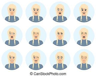 μικροβιοφορέας , διαμέρισμα , διαφορετικός , γυναίκα , φόντο , character., - , avatar, expressions., αναθέτω διάταξη , ελκυστικός , ξανθή , άσπρο , εικόνα , του προσώπου , γελοιογραφία , illustration.