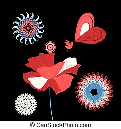 μικροβιοφορέας , εικόνα , με , ένα , πουλί , ερωτευμένα