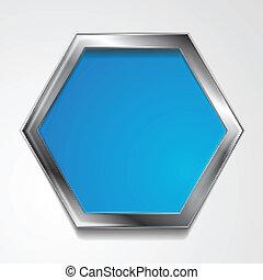 μικροβιοφορέας , εξάγωνο , σχήμα , με , ασημένια , κορνίζα