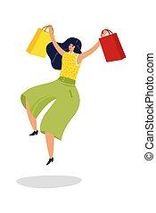 μικροβιοφορέας , ερεθισμένος , ψώνια , εικόνα , γυναίκα , αγνοώ , υπεραγορά , ευτυχισμένος , απομονωμένος , woman., αρπάζω