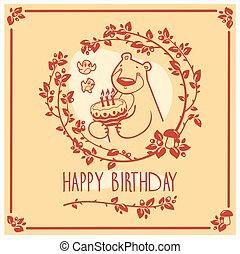 μικροβιοφορέας , ευτυχισμένα γεννέθλια , χαιρετισμός αγγελία , με , χαριτωμένος , αρκούδα , και , cake., πρόσκληση , design.