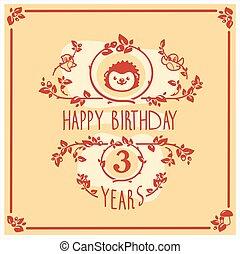 μικροβιοφορέας , ευτυχισμένα γεννέθλια , χαιρετισμός αγγελία , με , χαριτωμένος , hedgehog., πρόσκληση , design.