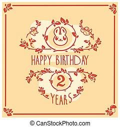 μικροβιοφορέας , ευτυχισμένα γεννέθλια , χαιρετισμός αγγελία , με , χαριτωμένος , rabbit., πρόσκληση , design.