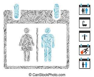 μικροβιοφορέας , ημέρα , εικόνα , αποχωρητήριο , γραμμικός , ημερολόγιο , κολάζ