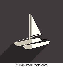 μικροβιοφορέας , θάλασσα , μεταφορά , shadow., απεικόνιση , διαμέρισμα , εικόνα