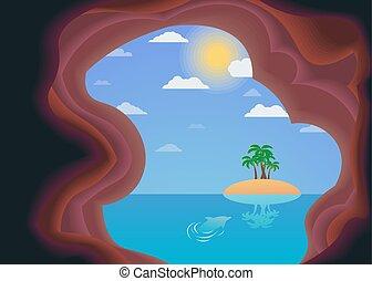 μικροβιοφορέας , θάλασσα , island., εικόνα , ήλιοs