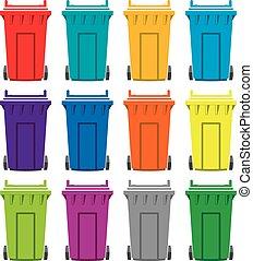 μικροβιοφορέας , θέτω , από , γραφικός , διαμέρισμα , ανακύκλωση , wheelie δοχείο , απεικόνιση