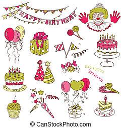 μικροβιοφορέας, θέτω,  -, γενέθλια, σχεδιάζω, βιβλίο απορριμμάτων, πάρτυ, στοιχεία