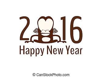 μικροβιοφορέας , κάρτα , νέο έτος , χαιρετισμός , μαϊμού , κινέζα , εικόνα