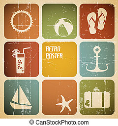 μικροβιοφορέας , καλοκαίρι , αφίσα , γινώμενος , από , απεικόνιση