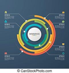 μικροβιοφορέας , κύκλοs , χάρτης , infographic, φόρμα , για , δεδομένα , visualization.