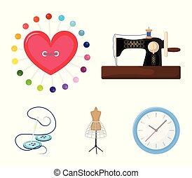 μικροβιοφορέας , μηχανή , ρυθμός , βελόνα , ανδρείκελο , μαξιλαράκι για καρφίτσες , σύμβολο , βελονιάζω , web., εικόνα , εξοπλισμός , θέτω , ράψιμο , συλλογή , απεικόνιση , clothing., γελοιογραφία , στοκ