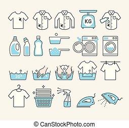 μικροβιοφορέας , μπουγάδα , υπηρεσία , icons., illustrations.