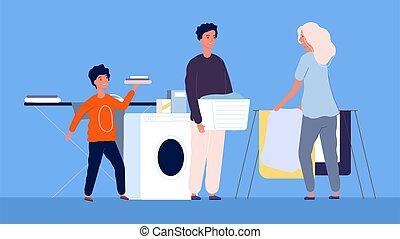 μικροβιοφορέας , οικογένεια , housework., πλύση , μαμά , καθάρισμα , καθάρισμα , ironing., μπουγάδα , παιδιά , εικόνα