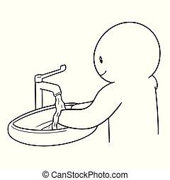 μικροβιοφορέας , πλύση , άνθρωποι , χέρι