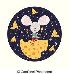 μικροβιοφορέας , ποντίκι , γελοιογραφία , style., διαμέρισμα...