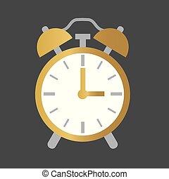 μικροβιοφορέας , ρολόι , τρομάζω , icon-, εικόνα , χρυσαφένιος