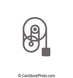 μικροβιοφορέας , σύμβολο , βιομηχανικός , τροχαλία , τροχός , μηχανή