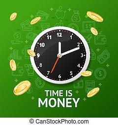 μικροβιοφορέας , χρήματα , τοίχοs , λεπτομερής , 3d , clock., γενική ιδέα , ρεαλιστικός , ώρα