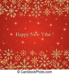 μικροβιοφορέας , χρυσαφένιος , νέο έτος , φόντο , ευτυχισμένος , εικόνα , snowflakes.