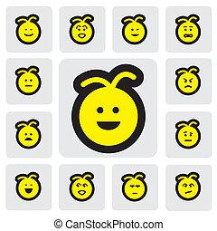 μικροβιοφορέας , expressions-, διαφορετικός , μωρό , χαριτωμένος , γραφικός , αντικρύζω