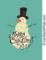 μικροβιοφορέας , grunge , illustration., calligraphic, snowman., σχεδιάζω , retro , χριστουγεννιάτικη κάρτα