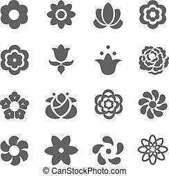 μικροβιοφορέας , icons., θέτω , λουλούδι , εικόνα