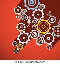 μικροβιοφορέας , illustration., ρολόι , κομμάτια , cogs., φόντο. , χαρτί , ταχύτητες , κόκκινο , retro
