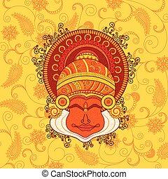 μικροβιοφορέας , kathakali, dancer's, σχεδιάζω , ζεσεεδ