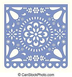 μικροβιοφορέας , picado, μεξικό , πορφυρό , πρότυπο , γιορτή , papel, σχεδιάζω , διακόσμηση , χαρτί , μεξικάνικος , γεωμετρικός , λουλούδια , cutout , ευτυχισμένος