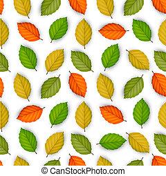 μικροβιοφορέας , seamless, πρότυπο , με , έγχρωμος , φύλλα