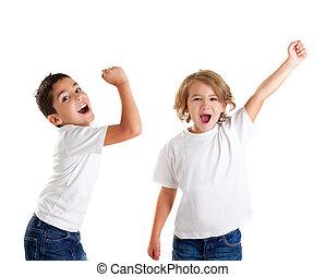 μικρόκοσμος , έκφραση , νικητήs , ερεθισμένος , άσπρο , σκούξιμο , παιδιά , χειρονομία , ευτυχισμένος