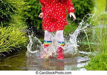 μικρόκοσμος , αδιάβροχος , βορβορώδης , φθινόπωρο , φορώ , rain.