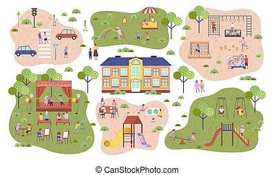 μικρόκοσμος , διάστημα , πάρκινγκ , νηπιαγωγείο , παιδική χαρά