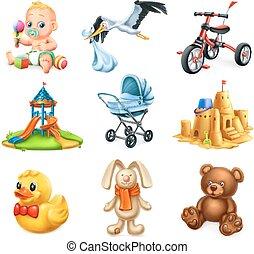 μικρόκοσμος , θέτω , απεικόνιση , toys., μικροβιοφορέας , playground., παιδιά , 3d