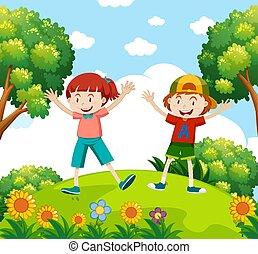 μικρόκοσμος , κήπος , ευτυχισμένος